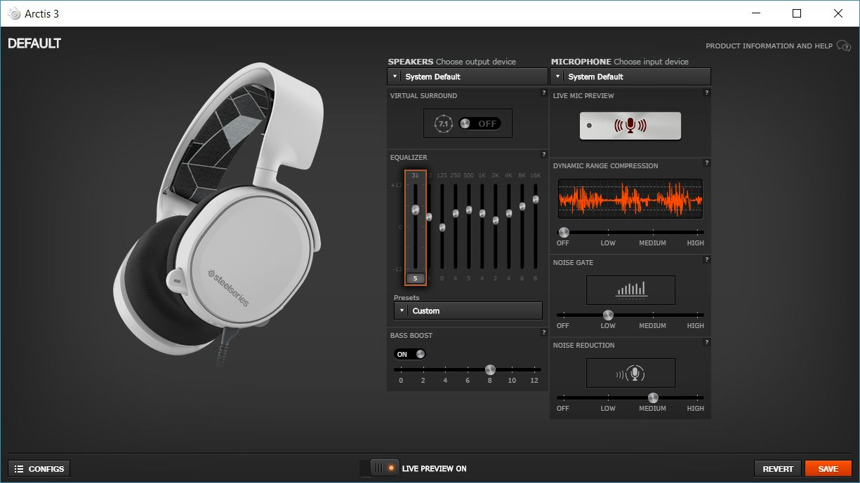 SteelSeries Arctis3 audio config