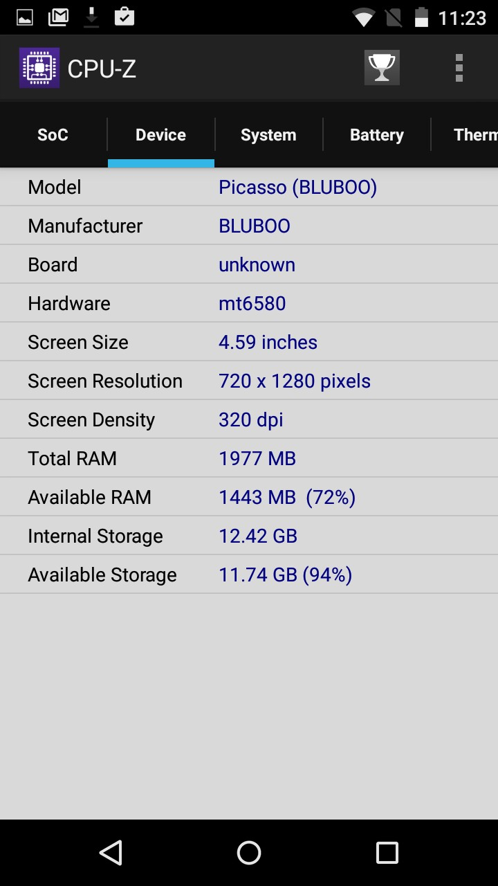 bluboo picasso screen cpuz 2